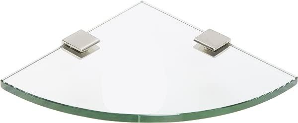 Spancraft Glass Quarter Round Glass Shower Shelf Brushed Nickel Bracket Square Clamp 6