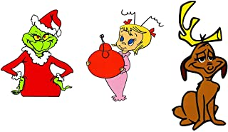 Universal Colletions How The Grinch Stole Christmas Grinch Max Dog and Little Cindy Lou Who Vinyl Decal Bumper Sticker Pack of 3