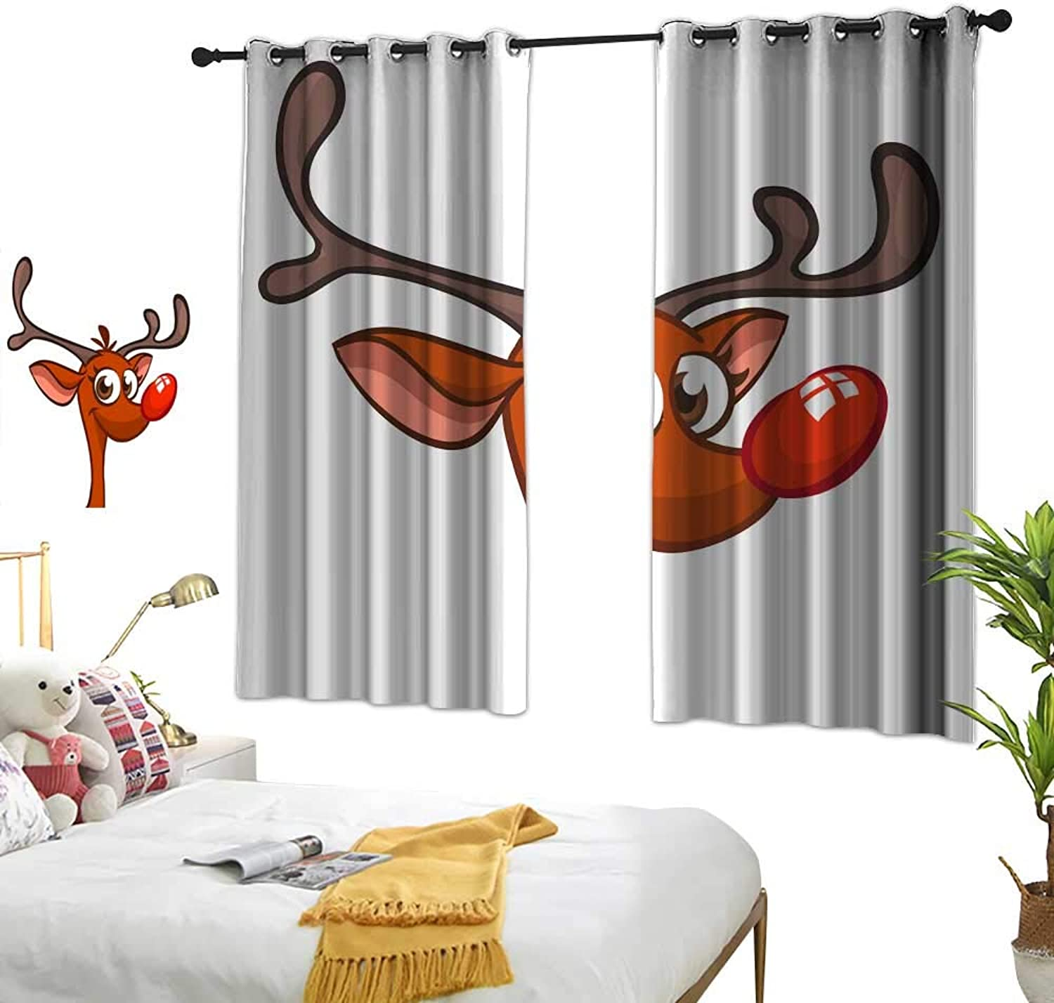 Wwwhsl Personality Series Decoration Funny Cartoon red Nose Reindeer Rudolph Character Christmas Vector Illustration Summer Blackout Curtain Polyester Bedroom Living Room W62.9 xL62.9