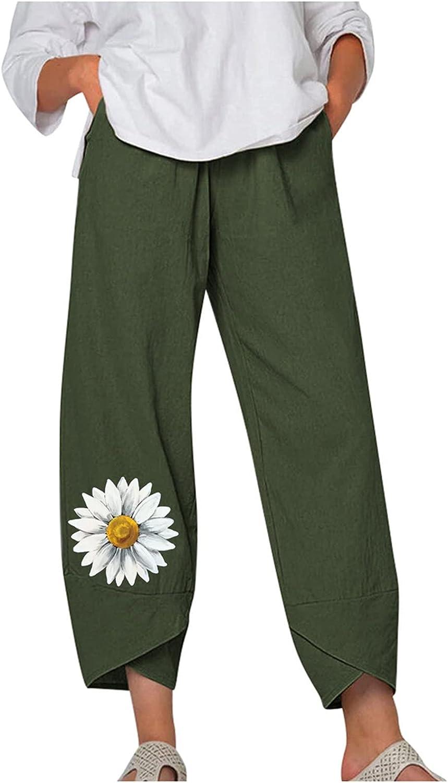 Linen Pants for Women,Women Pants Sweatpants Capri Pants Elastic Waist Pant Pocket Loose Harem Pants,Pants for Women