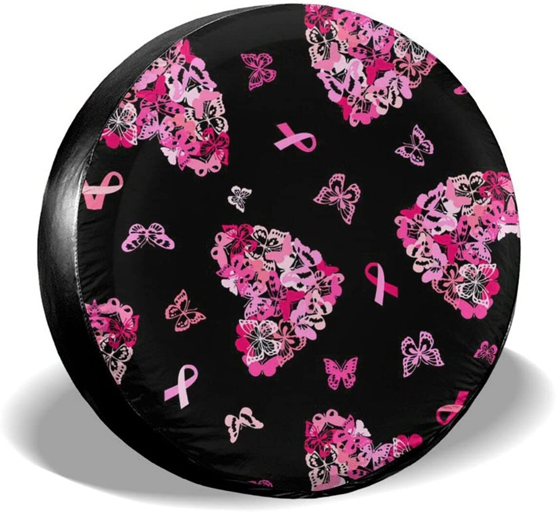 AXDF Breast Cancer Butterfly Ranking TOP14 Ribbon We OFFer at cheap prices Protection tire Spare Cover