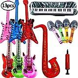 SWZY Aufblasbare Rock Star Toy Set-13 Stück aufblasbare Party Props-3 Aufblasbare Gitarre,4 Mikrofone,3 Beth,1 Saxophon,1Tastatur Klavier Und Luftpumpe Für Party Favors Ballons Zufällige Farbe -