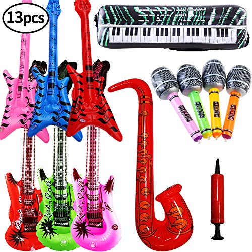SWZY 13PCS Inflatables Guitar Beth Saxophone Microphone Electronic Keyboard Balloons +1PCS air pump Musical Instruments Accessories For Party Supplies Party Favors Balloons Random Color