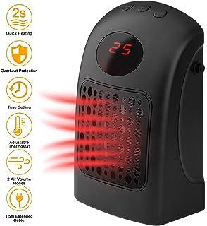 Portátil Mini Calefactor, 900W Eléctrico Termoventiladores con 1,5m Cable Extensión, Protección Sobrecalentar, Temporizador, Ajuste Temperatura, 2 Modos Volumen Aire, Térmico Heater de Personal