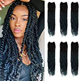 NOBLE GIRL Passion Twist Crochet Hair 24 inch Spring Twist Hair 6 Packs Bomb Twist Crochet Hair Pre-looped Crochet Braids with Curly Ends Synthetic Hair Extensions (Ombre Blue)