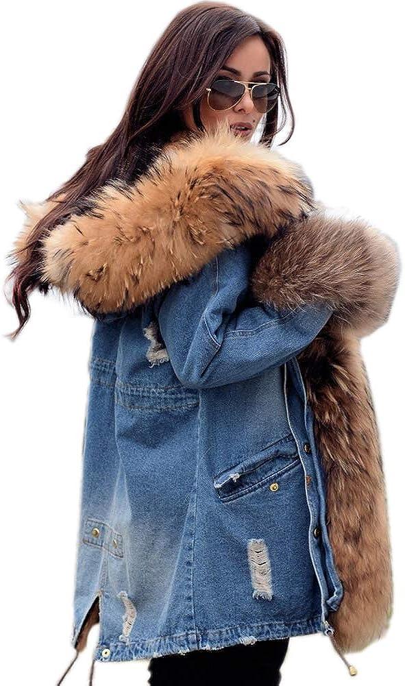 Aofur Plus Size Women's Long Hooded Parka Coat Warm Winter Overcoat Faux Fur Collar Qulited Jacket