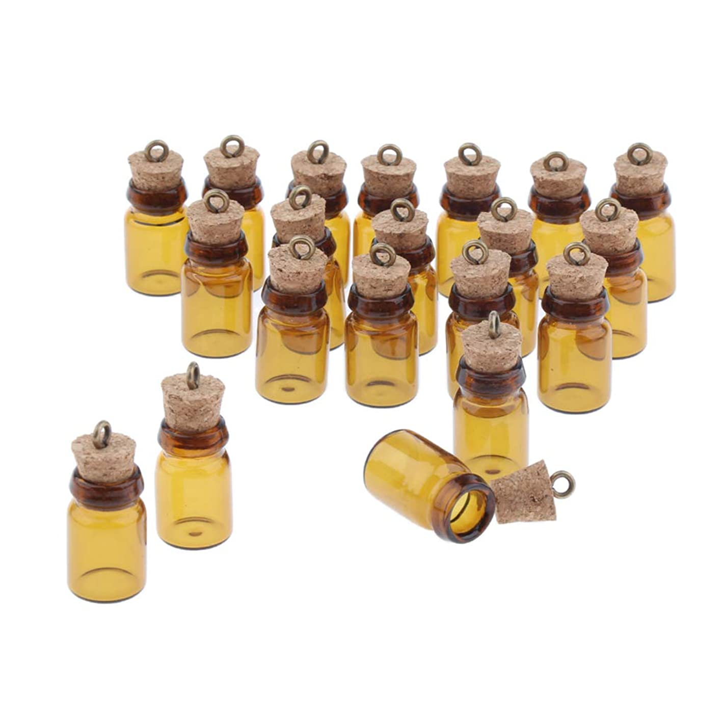 村動物法令Perfeclan 約20本 ミニガラスボトル エッセンシャルオイル ストッパー 2サイズ選べ - 0.5ml