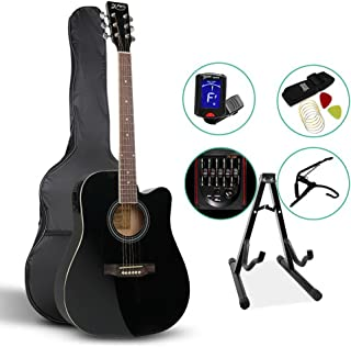 41 Inch Electric Acoustic Guitar Wooden Folk Classical D Shape Full Size Cutaway Black Strings Carry Bag Tuner Capo Shoulder Strap Picks ALPHA