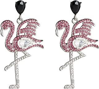 Soft 925 Silver Needle Premium Amazing Nobby Flamingo Animals Drop Earrings -Delicate Statement Shining Crystal Dangle Earrings for Girls Women