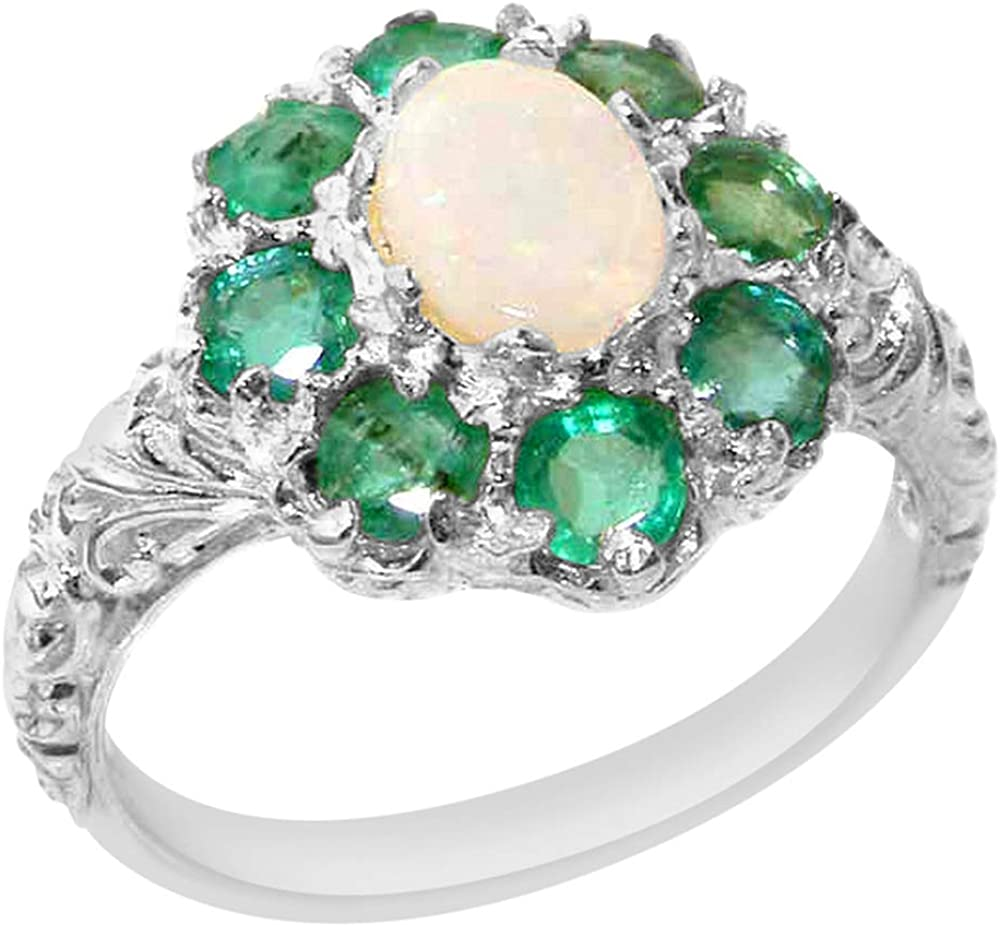 Cheap mail order All stores are sold specialty store Solid 925 Sterling Silver Natural Cluster Womens Emerald R Opal