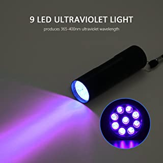 Linterna UV de aluminio, 9 LED 395 nm ultra violeta,
