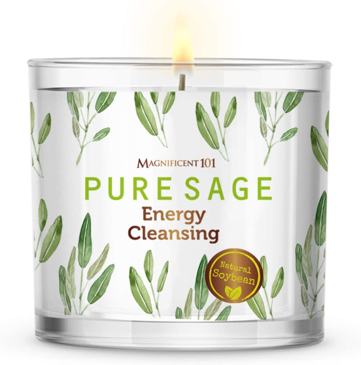 MAGNIFICENT 101 Large Pure SAGE Smudge Candle for House Energy Cleansing, Banishes Negative Energy I Purification and Chakra Healing - Natural Soy Wax Tin Candle for Aromatherapy (14oz)