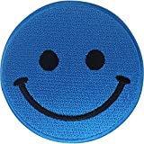 ELLU Bolso de Vestir Camiseta con Parche para Planchar con Cara Sonriente Azul Insignia Bordada para Coser en Mezclilla