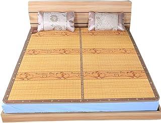 TRD-Floor - Esterilla de bambú para suelo (doble cara, plegable, para cama de verano, sin ganchos de sujeción, sin bambú carbonizado, asientos de ratán, para aire acondicionado), 1.5x1.95m