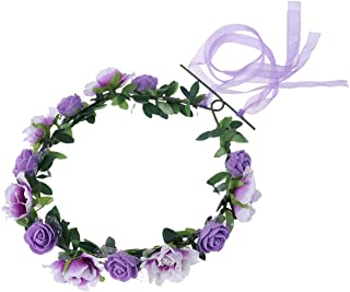 Hair Wreath, Women Boho Floral Hairband Floral Garland Crown Headpiece for Wedding Party (Purple)