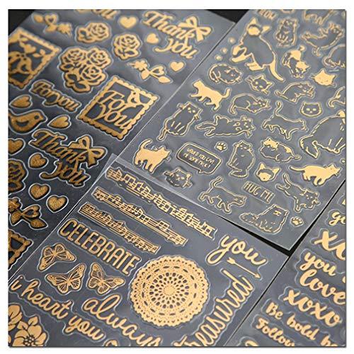 Briefpapier Aufkleber selbstklebend für Scrapbooking Tagebuch Planer Handy Album Notebook Bullet Journal Party Tasche Event Deko DIY Art Craft Kalender Sticker (Gold)