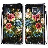 Nadoli Coloré Portefeuille Coque pour Samsung Galaxy S5,Cool Drôle Animal Fleur Papillon Séries Créatif Faux Cuir Magnétique...