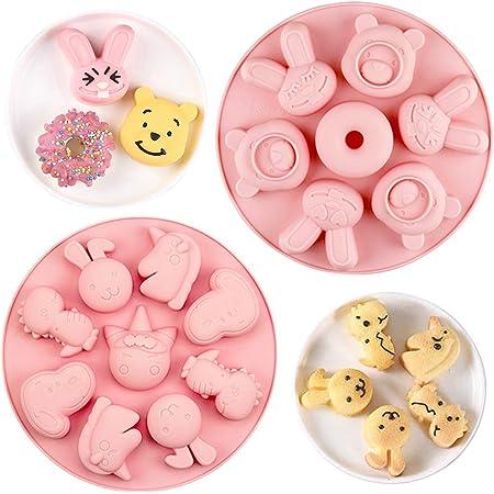 Dessin animé Animal Moule, 2 pièces Silicone Cuisson Moule pour DIY Gâteau Chocolat Bonbons Pâtisserie Pudding Biscuit pour Complément alimentaire pour enfants & Décoration de gâteau d'anniversaire