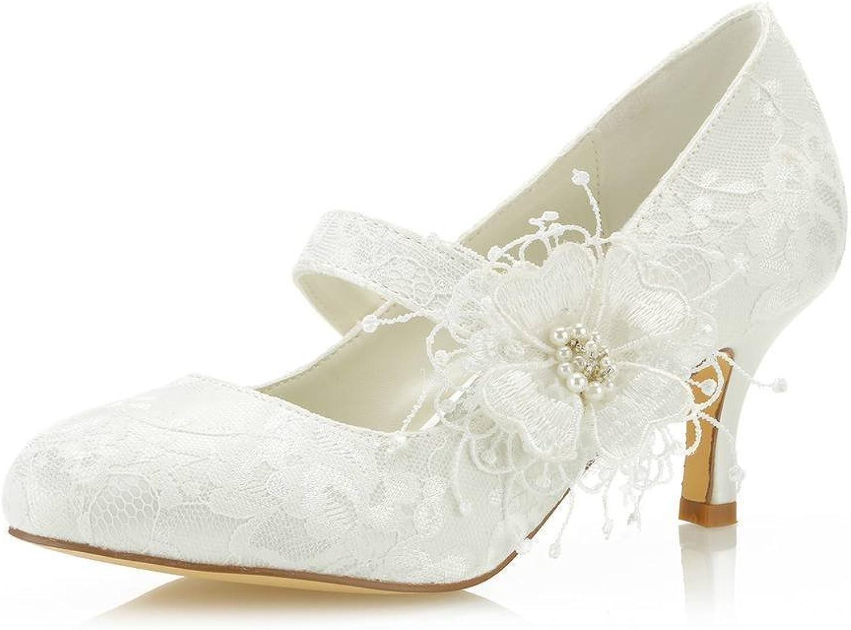 Mrs Right 586449B Damen Brautschuhe Closed Toe Stöckelabsatz Spitze Satin Pumps Satin Blaume Nachahmung Hochzeitsschuhe  | Exquisite (mittlere) Verarbeitung  | Luxus  | Verrückter Preis, Birmingham