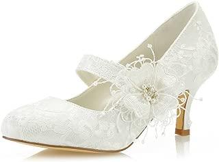 Mrs Right 586449B Women's Bridal Shoes Closed Toe Stiletto Heel Lace Satin Pumps Satin Flower Imitation Wedding Shoes