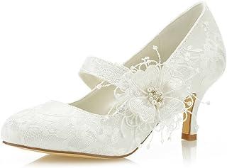 Mrs Right 586449B aux Femmes Chaussures de mariée Bout fermé Talon Aiguille Dentelle satinée des Pompes Chaussures de Mariage