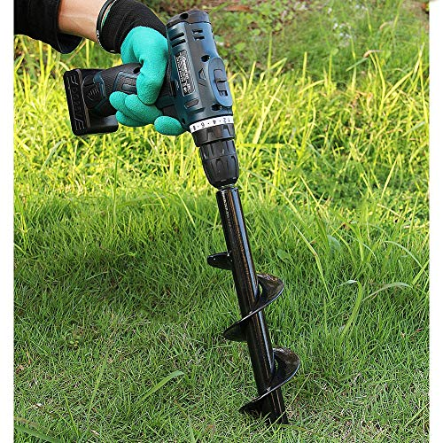 Twinkle Star Garden Auger Spiral Drill Bit 3 x 12 Inch with Garden Genie Gloves, Plant Bulb Auger Fits for 3/8 Inch Dill