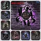 FDGFDG I Love Cats CD Vinyl Iluminación LED Reloj de Pared Interior Art Decoration Vintage 3D Hanging Wall Art Vinyl Light Gran Regalo