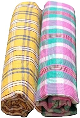 """Cotton Colors - 2 Striped Bath Towels - Standard Towel (60"""" * 30"""") (Super Water Absorbent, Very Thin, Light Weight, S"""