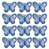 Molino de Viento Repelente de Pájaros con Forma de Mariposa de 12 Piezas, Ahuyentadores de Aves para Techos para Proteger El Jardín/Huerto/Granja,Blue
