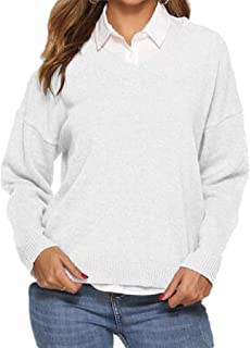 Womens Casual Simple Loose Solid Color Long Sleeves Knitted Pullover Jumper Sweater