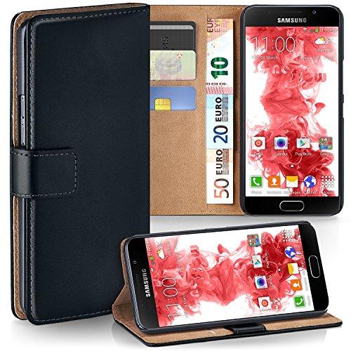 MoEx Premium Book-Case Handytasche kompatibel mit Samsung Galaxy A5 (2016) | Handyhülle mit Kartenfach und Ständer - 360 Grad Schutz Handy Tasche, Schwarz