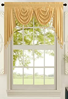 All American Collection New Attached Solid Faux Silk Double Waterfall Valance with Tails (55