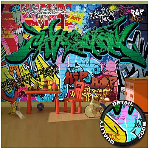 GREAT ART Fotomurale per Camera dei Bambini – Graffiti Arte di Strada – Decorazione Murale Urbano Scrittura tipografica Pop Art Muro Astratta Carta da Parati 336 x 238 cm
