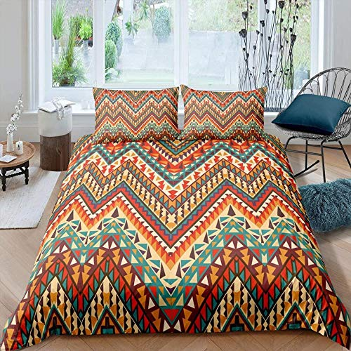Anvvsovs Cotton Bedding Set Queen King size 3d ( Super King size 260 x 220 cm ) Boho geometric stripes design retro colorful pattern Duvet Cover Bed sheet set Fitted sheet parure de lit + 2 P