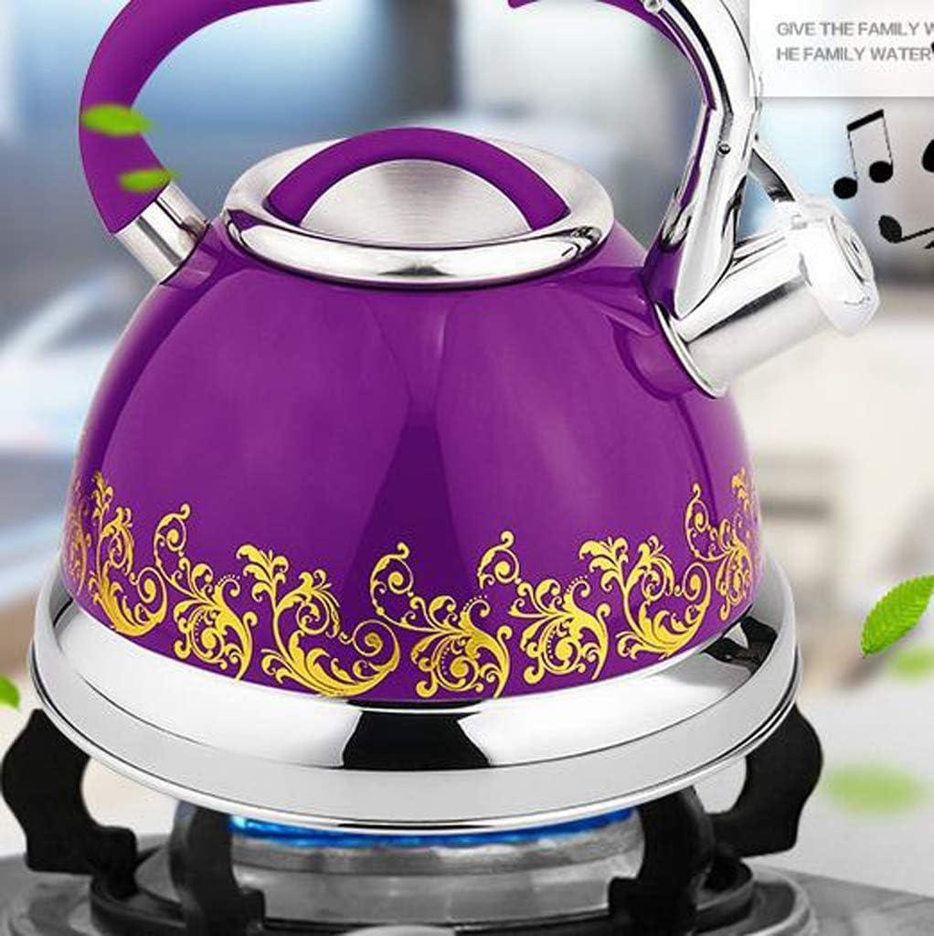 Roestvrijstalen Kampeerketel Met Inklapbare Handgreep Lichtgewicht Fluitende Speen Met Traditionele/Retro-Uitloop Voor Kookplaat Of Kookplaat, 3L A Purple