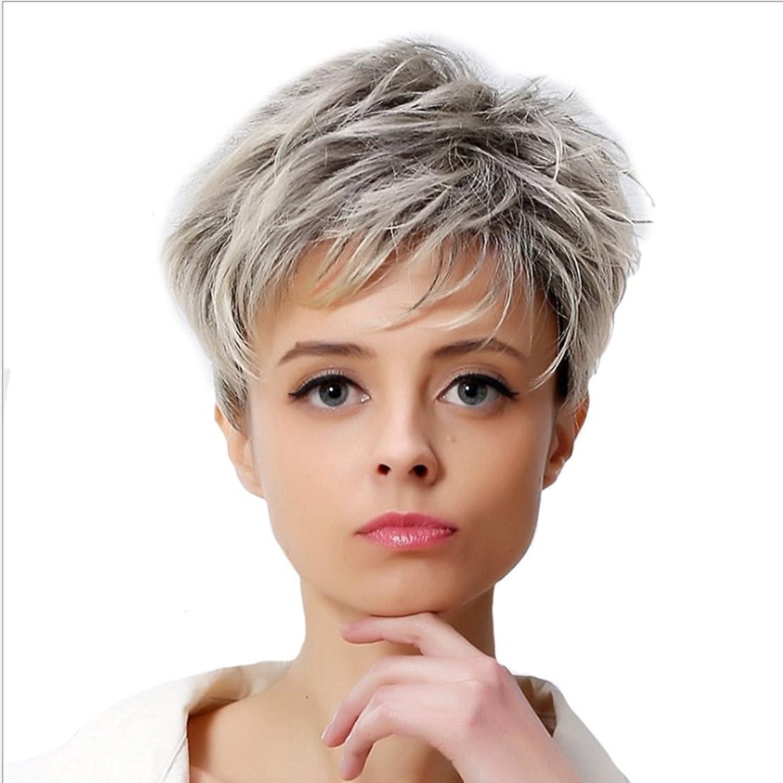 書店すき受け入れKoloeplf 女性のための優雅なかつらエアーフラットバンズウィッグとショートカーリーヘアー女性のための耐熱性のあるふわふわウィッグ10inch / 11inch(灰色がかった白、金色) (Color : Grayish white)