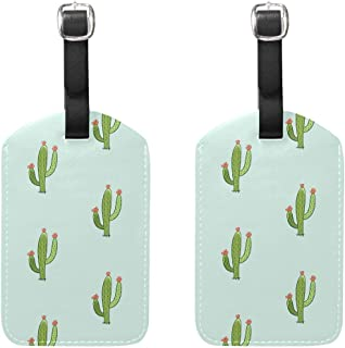 MASSIKOA Green Cactus Cruise Luggage Tags Suitcase Labels Bag,2 Pack