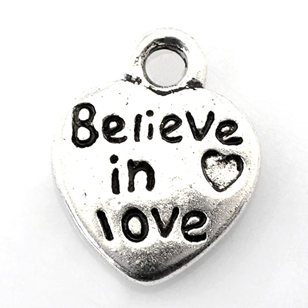 Believe In Love Heart Charms Antiqued Silver 10mm Lot of 50