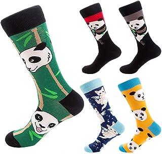 Calcetines de Algodón Ocasionales Calcetines Deportivos Estampado de Panda en Colores Brillantes 5 pares