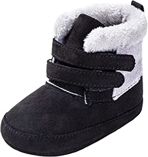 Baby Boys Girls Cotton Non-Slip Thick Soft Sole Plush Lining Boots Toddlers Warm Bottom Booties (Color : Black, Size : 6-9...