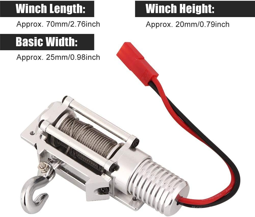 Black RC Car Metal Winch Full CNC Metal RC Winch Spare Upgrade Parts Accessories Compatible with 1//10 SCX10 Axial Crawler D90