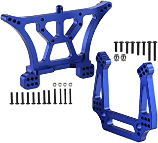 2-Pack Aluminum Front and Rear Shock Tower Set Upgrade Parts for 1/10 Traxxas 2WD Slash Stampede Rustler VXL Blue-Anodized