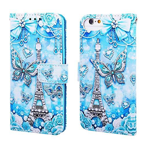 Nadoli Leder Hülle für iPhone SE 2020,Bunt Turm Schmetterling Malerei Ultra Dünne Magnetverschluss Standfunktion Handyhülle Tasche Brieftasche Etui Schutzhülle