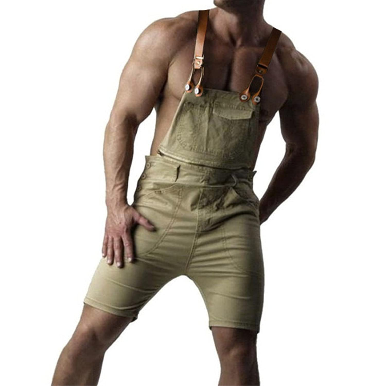 Men's Max 78% OFF Casual Bib Overalls Denim Washington Mall Shorts Fit Dungaree Loose Ripped