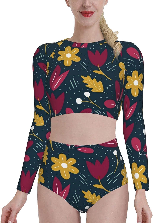 Flowers in The Summer Women's Rash Guard Long Sleeve Bathing Suit with Bra Swimsuit High Waist Pants