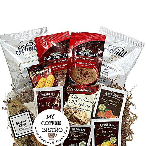 Coffee Gift Box, Biscotti, Shortbread Cookies, Hot Cocoa, and Tea Set, Coffee Lover Gift