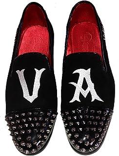Scarpe Uomo, Modello Pantofola, Slippers in camoscio con Borchie e Ricamo Personalizzato