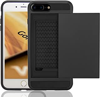 iPhone 8 Plus & iPhone 7 Plus Case, Anzuo Wallet Case Card Slot Shell Impact Resistant Protective Shell Wallet Cover Shockproof Case Compatible Apple iPhone 7 Plus/iPhone 8 Plus (Black)