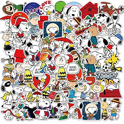 LVLUO Anime Snoopy Personalidad Locomotora decoración Pintura Equipaje Cuaderno Coche Pegatinas Impermeables 50