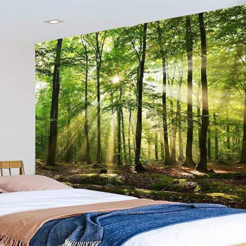 KHKJ Soleil à Travers Grand Arbre Tapisserie forêt Nature Paysage tenture Murale Couverture Mandala Tapis dortoir Boho décor à la Maison A14 200x180 cm